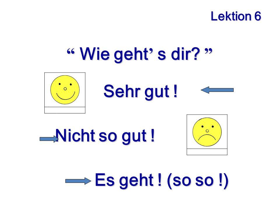 Lektion 6 Wie geht s dir.Sehr gut . Sehr gut . Nicht so gut .