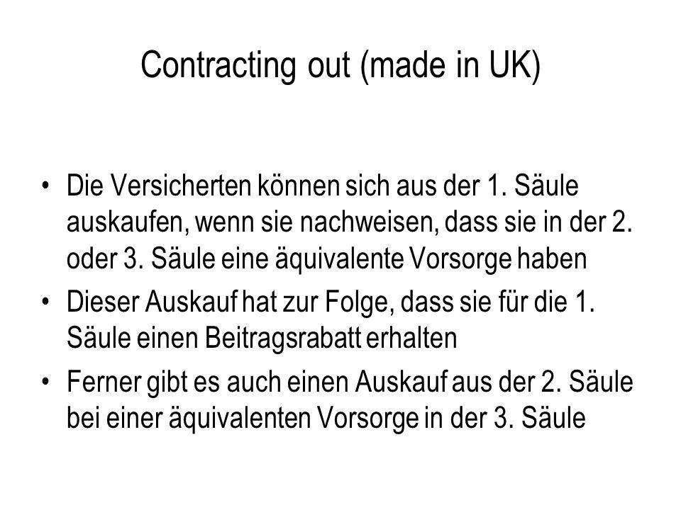 Contracting out (made in UK) Die Versicherten können sich aus der 1. Säule auskaufen, wenn sie nachweisen, dass sie in der 2. oder 3. Säule eine äquiv