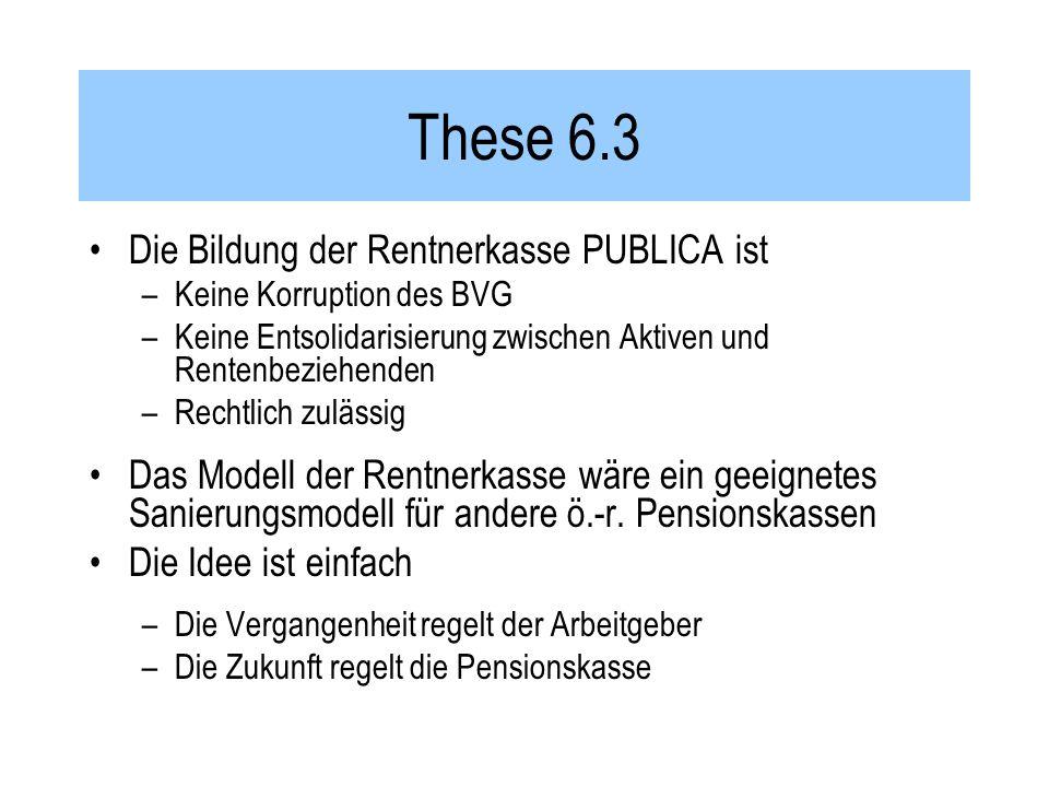 These 6.3 Die Bildung der Rentnerkasse PUBLICA ist –Keine Korruption des BVG –Keine Entsolidarisierung zwischen Aktiven und Rentenbeziehenden –Rechtlich zulässig Das Modell der Rentnerkasse wäre ein geeignetes Sanierungsmodell für andere ö.-r.