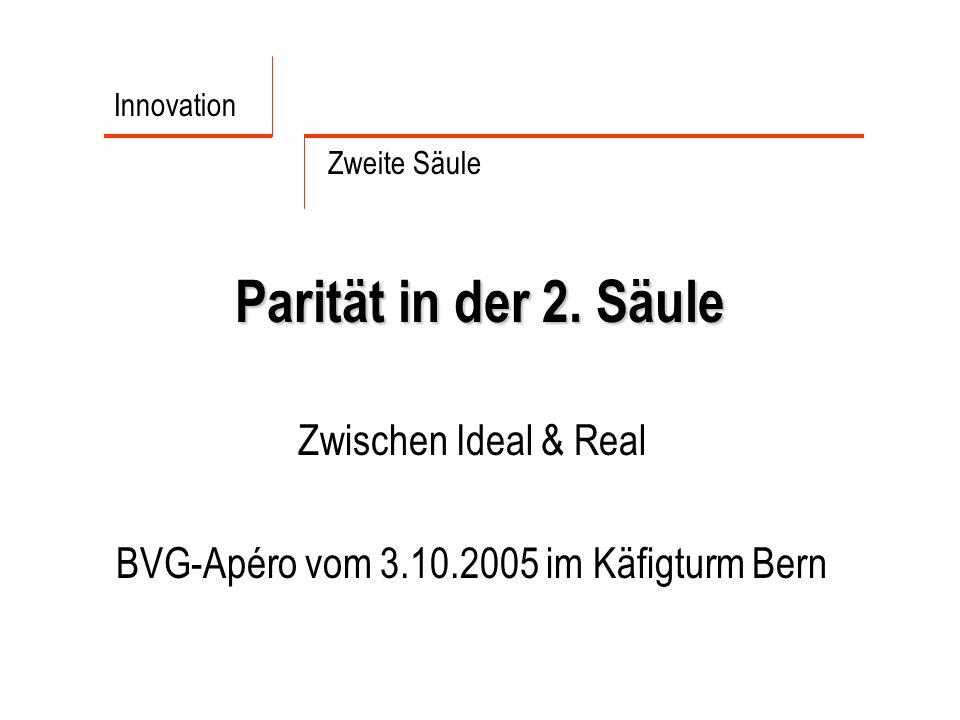 Parität in der 2. Säule Zwischen Ideal & Real BVG-Apéro vom 3.10.2005 im Käfigturm Bern Innovation Zweite Säule