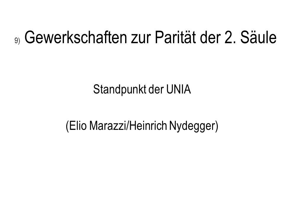 9) Gewerkschaften zur Parität der 2. Säule Standpunkt der UNIA (Elio Marazzi/Heinrich Nydegger)