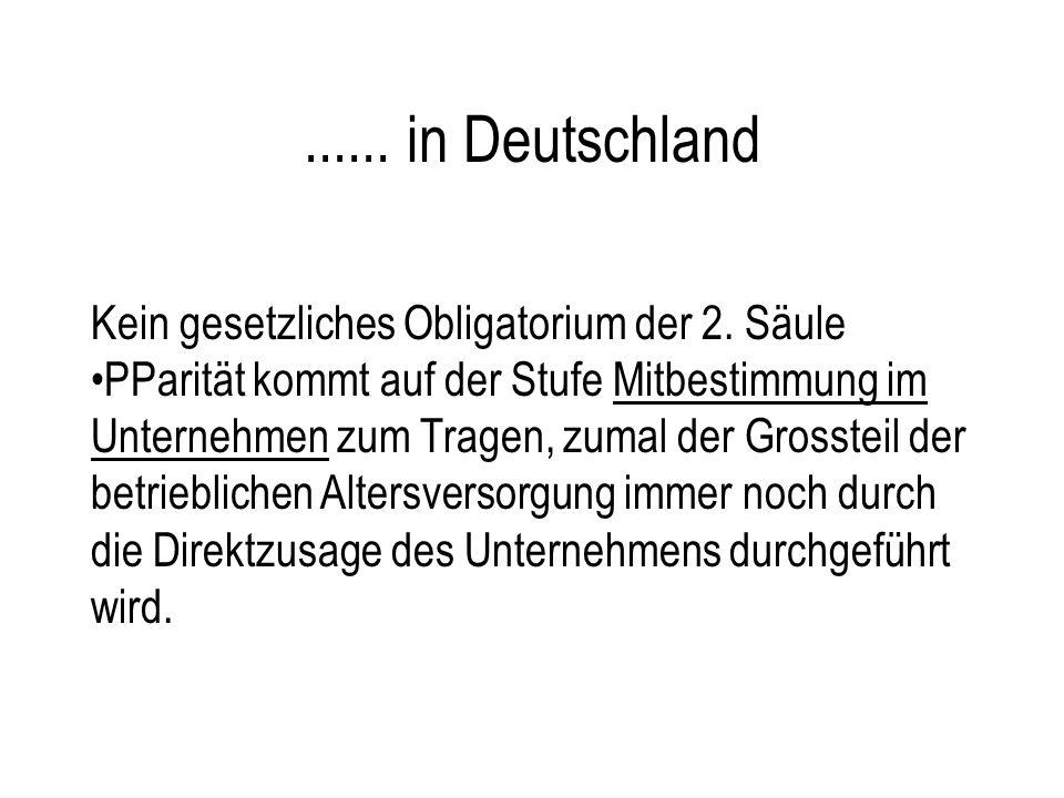 ...... in Deutschland Kein gesetzliches Obligatorium der 2. Säule PParität kommt auf der Stufe Mitbestimmung im Unternehmen zum Tragen, zumal der Gros