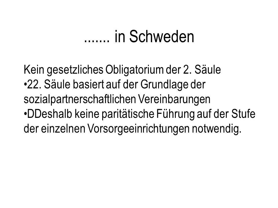 ....... in Schweden Kein gesetzliches Obligatorium der 2. Säule 22. Säule basiert auf der Grundlage der sozialpartnerschaftlichen Vereinbarungen DDesh