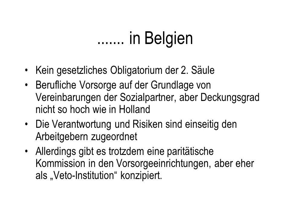 ....... in Belgien Kein gesetzliches Obligatorium der 2. Säule Berufliche Vorsorge auf der Grundlage von Vereinbarungen der Sozialpartner, aber Deckun