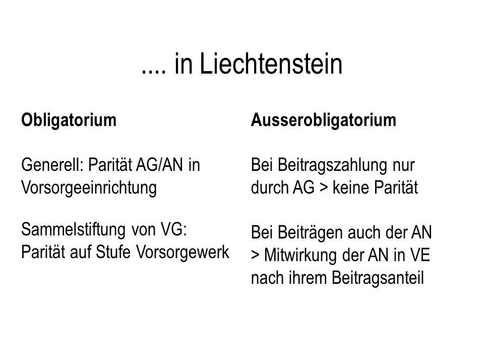 .... in Liechtenstein Obligatorium Generell: Parität AG/AN in Vorsorgeeinrichtung Sammelstiftung von VG: Parität auf Stufe Vorsorgewerk Ausserobligato