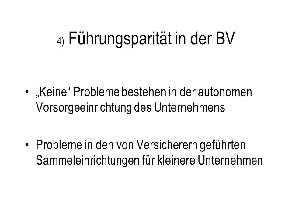 4) Führungsparität in der BV Keine Probleme bestehen in der autonomen Vorsorgeeinrichtung des Unternehmens Probleme in den von Versicherern geführten Sammeleinrichtungen für kleinere Unternehmen