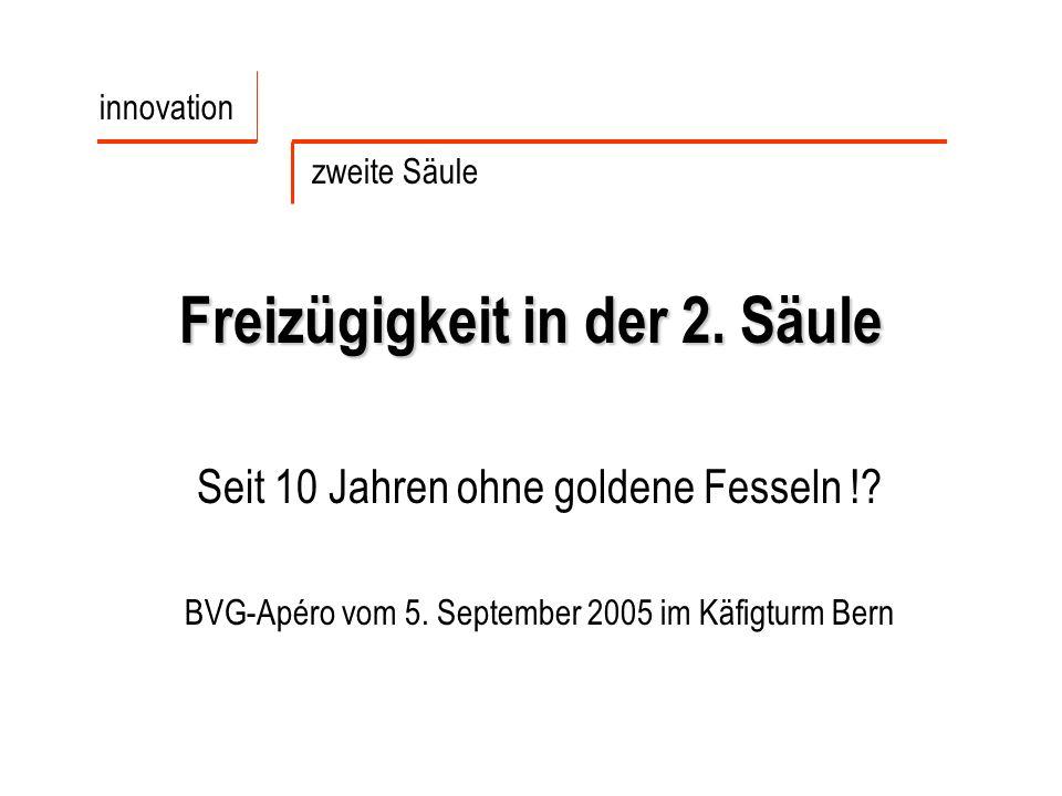 Freizügigkeit in der 2. Säule Seit 10 Jahren ohne goldene Fesseln !? BVG-Apéro vom 5. September 2005 im Käfigturm Bern innovation zweite Säule