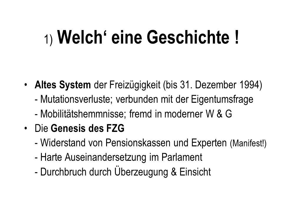 1) Welch eine Geschichte ! Altes System der Freizügigkeit (bis 31. Dezember 1994) - Mutationsverluste; verbunden mit der Eigentumsfrage - Mobilitätshe