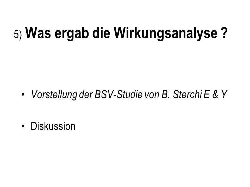 5) Was ergab die Wirkungsanalyse ? Vorstellung der BSV-Studie von B. Sterchi E & Y Diskussion