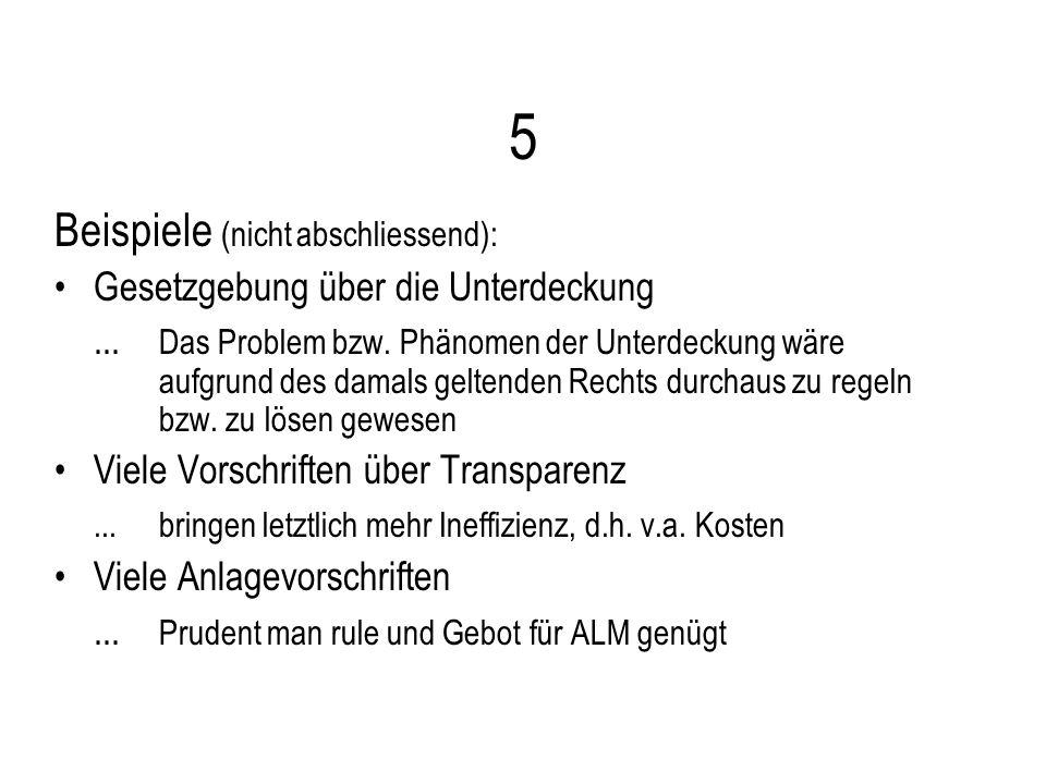 5 Beispiele (nicht abschliessend): Gesetzgebung über die Unterdeckung...