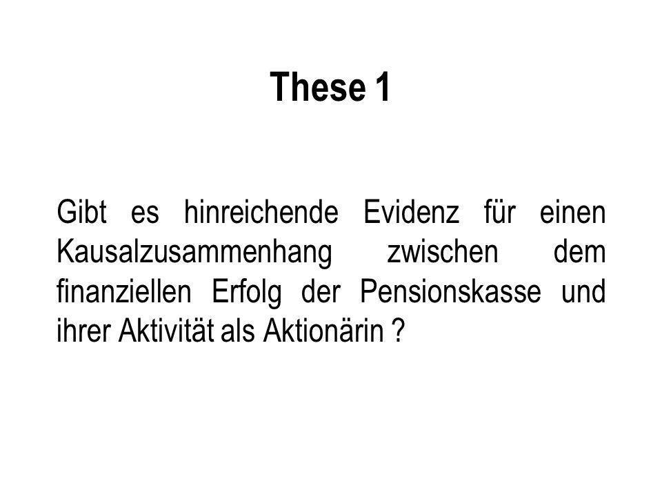 These 1 Gibt es hinreichende Evidenz für einen Kausalzusammenhang zwischen dem finanziellen Erfolg der Pensionskasse und ihrer Aktivität als Aktionärin