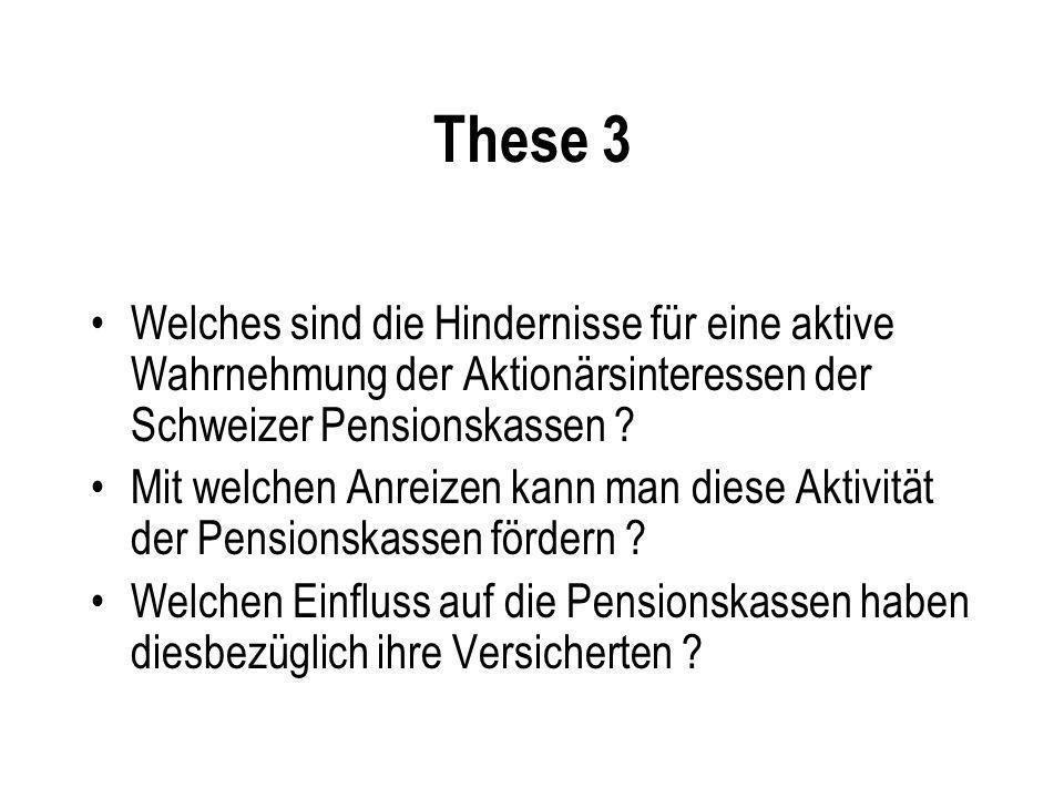These 3 Welches sind die Hindernisse für eine aktive Wahrnehmung der Aktionärsinteressen der Schweizer Pensionskassen ? Mit welchen Anreizen kann man
