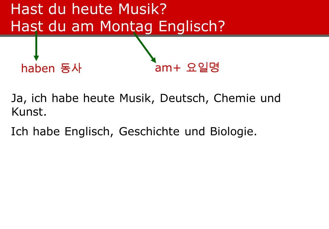 Hast du heute Musik? Hast du am Montag Englisch? Ja, ich habe heute Musik, Deutsch, Chemie und Kunst. Ich habe Englisch, Geschichte und Biologie. habe