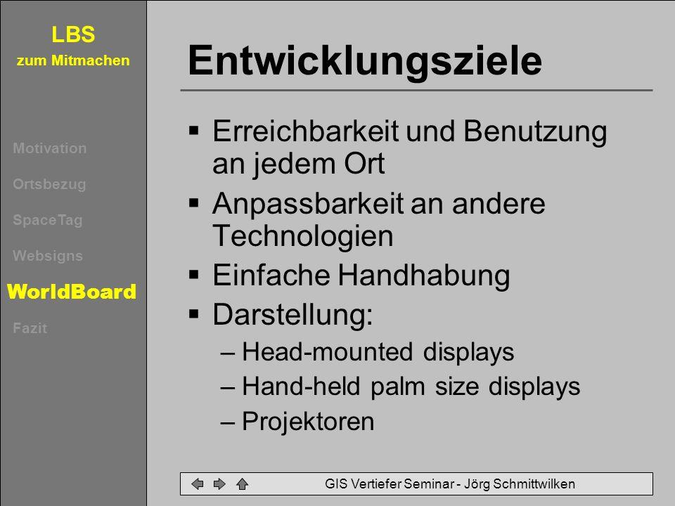LBS zum Mitmachen Motivation Ortsbezug SpaceTag Websigns WorldBoard Fazit GIS Vertiefer Seminar - Jörg Schmittwilken Entwicklungsziele Erreichbarkeit