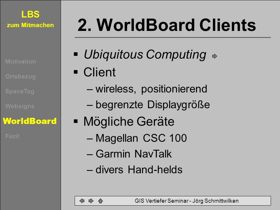 LBS zum Mitmachen Motivation Ortsbezug SpaceTag Websigns WorldBoard Fazit GIS Vertiefer Seminar - Jörg Schmittwilken 2. WorldBoard Clients Ubiquitous