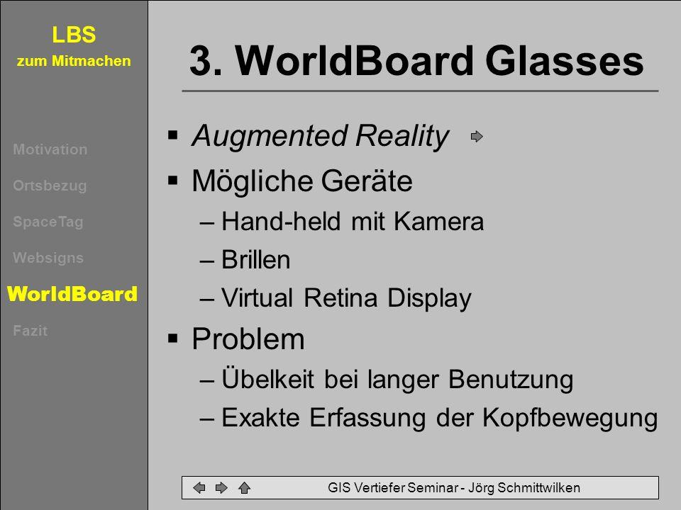 LBS zum Mitmachen Motivation Ortsbezug SpaceTag Websigns WorldBoard Fazit GIS Vertiefer Seminar - Jörg Schmittwilken 3. WorldBoard Glasses Augmented R