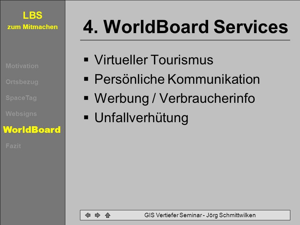 LBS zum Mitmachen Motivation Ortsbezug SpaceTag Websigns WorldBoard Fazit GIS Vertiefer Seminar - Jörg Schmittwilken 4. WorldBoard Services Virtueller