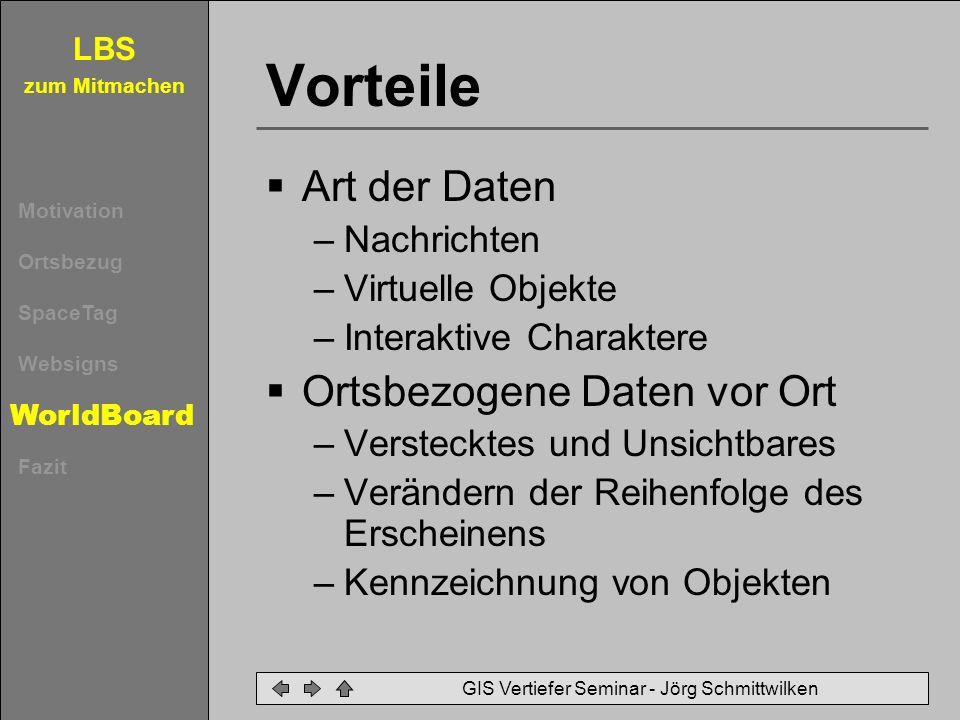 LBS zum Mitmachen Motivation Ortsbezug SpaceTag Websigns WorldBoard Fazit GIS Vertiefer Seminar - Jörg Schmittwilken Vorteile Art der Daten –Nachricht