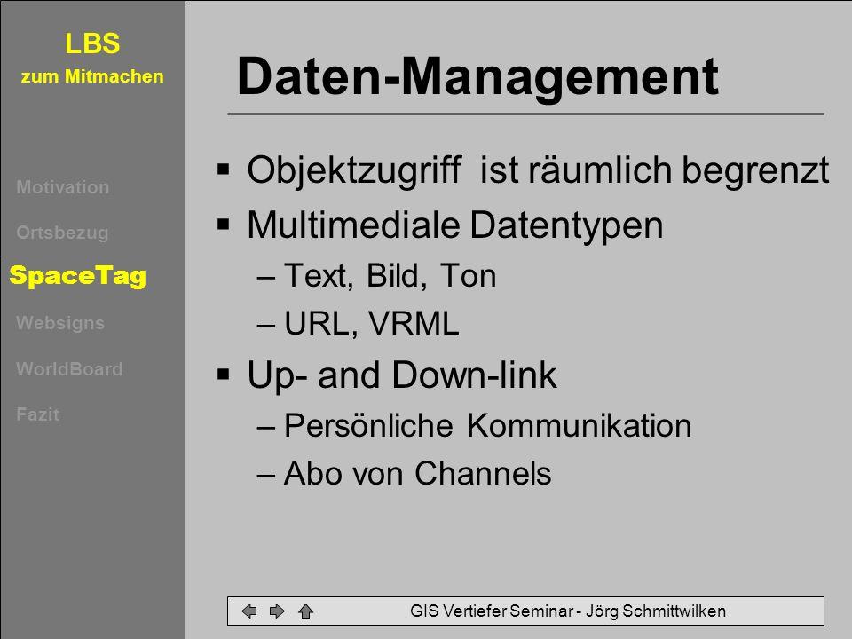 LBS zum Mitmachen Motivation Ortsbezug SpaceTag Websigns WorldBoard Fazit GIS Vertiefer Seminar - Jörg Schmittwilken Daten-Management Objektzugriff is