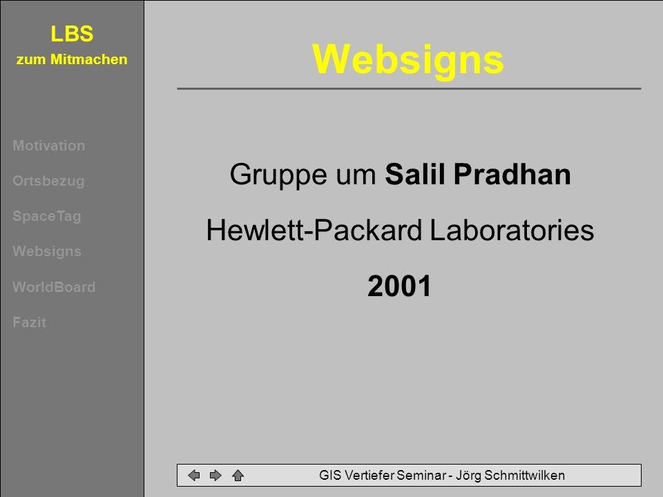 LBS zum Mitmachen Motivation Ortsbezug SpaceTag Websigns WorldBoard Fazit GIS Vertiefer Seminar - Jörg Schmittwilken 2.