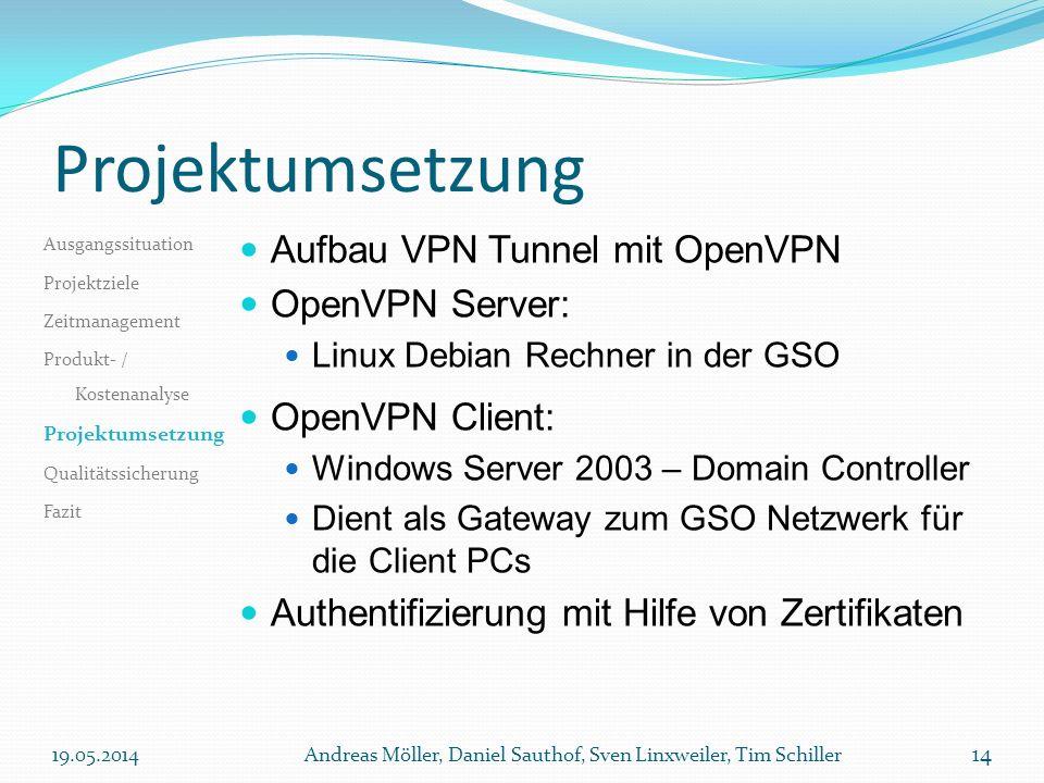 Projektumsetzung Aufbau VPN Tunnel mit OpenVPN OpenVPN Server: Linux Debian Rechner in der GSO OpenVPN Client: Windows Server 2003 – Domain Controller