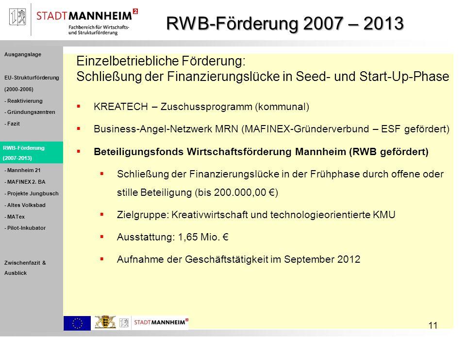 RWB-Förderung 2007 – 2013 11 Einzelbetriebliche Förderung: Schließung der Finanzierungslücke in Seed- und Start-Up-Phase KREATECH – Zuschussprogramm (