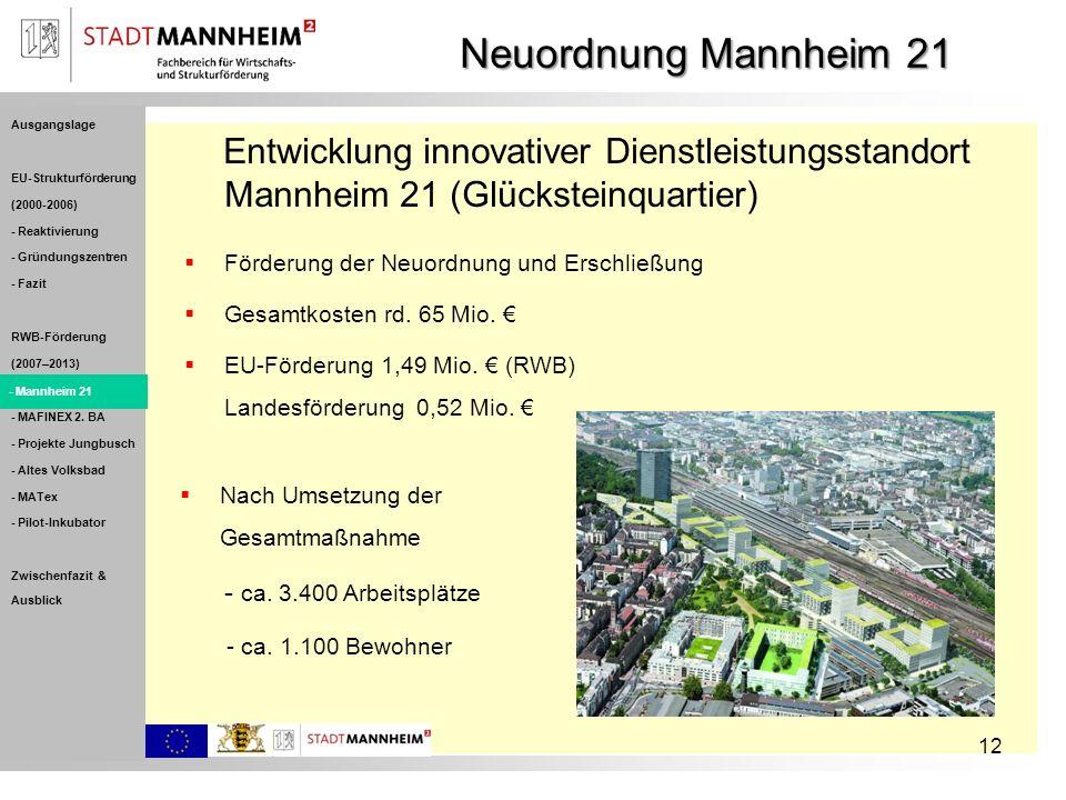Förderung der Neuordnung und Erschließung Gesamtkosten rd. 65 Mio. EU-Förderung 1,49 Mio. (RWB) Landesförderung 0,52 Mio. 12 Entwicklung innovativer D