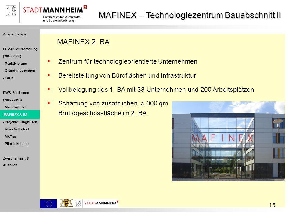 13 MAFINEX – Technologiezentrum Bauabschnitt II Schaffung von zusätzlichen 5.000 qm Bruttogeschossfläche im 2. BA Zentrum für technologieorientierte U