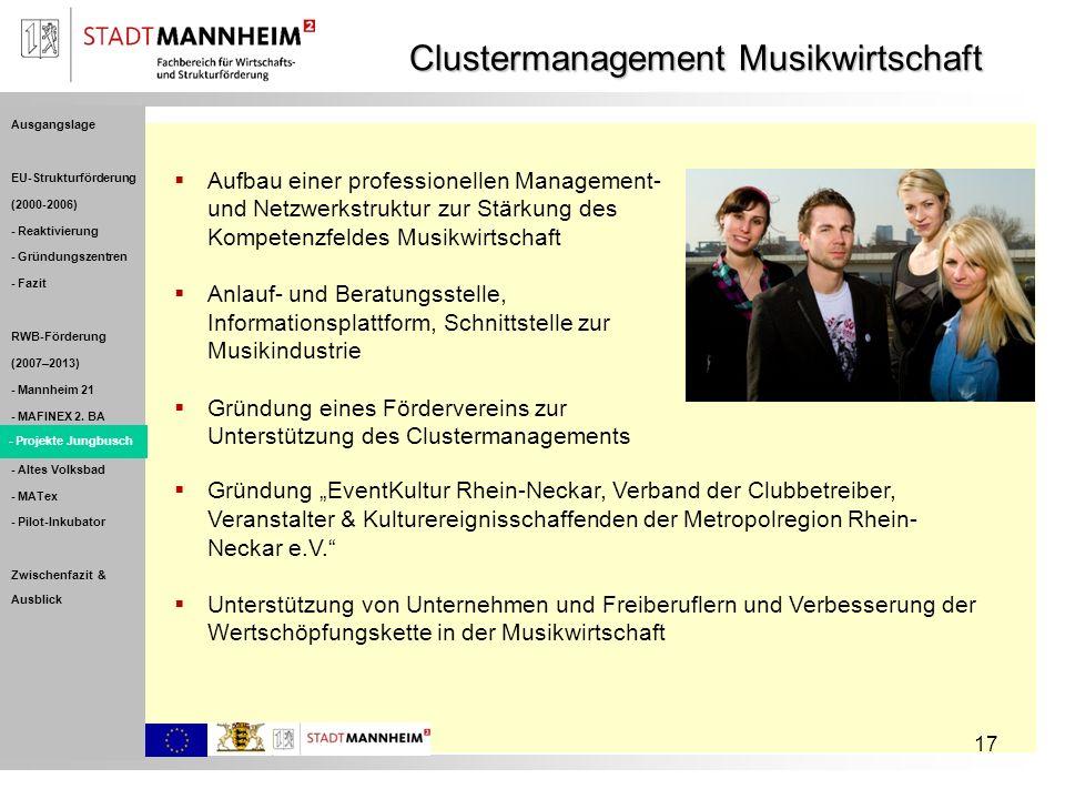 17 Clustermanagement Musikwirtschaft Aufbau einer professionellen Management- und Netzwerkstruktur zur Stärkung des Kompetenzfeldes Musikwirtschaft An