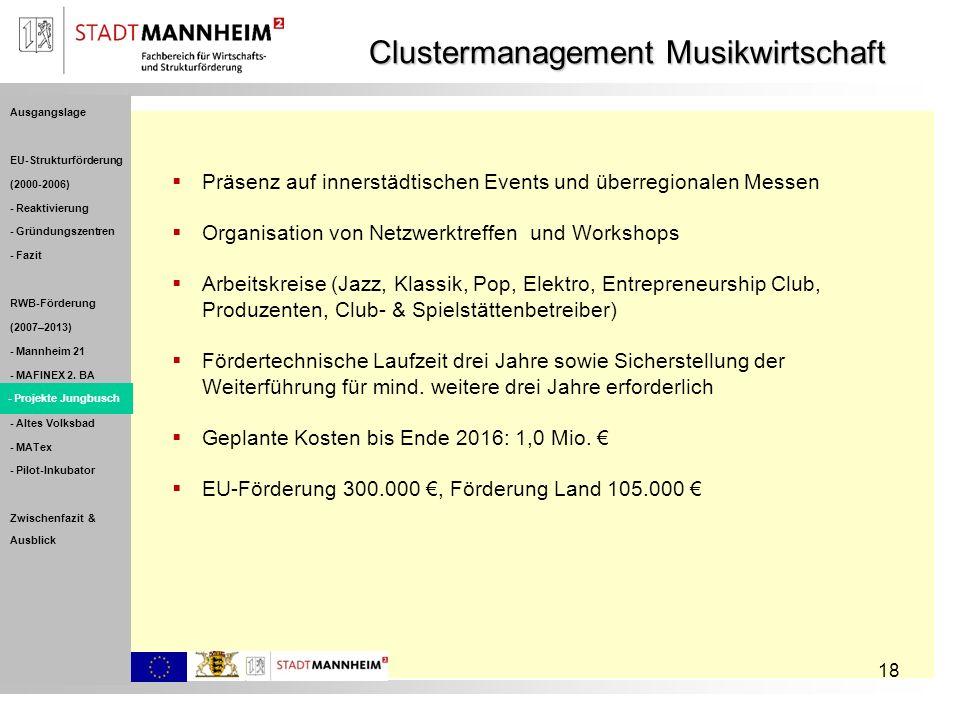 18 Clustermanagement Musikwirtschaft Präsenz auf innerstädtischen Events und überregionalen Messen Organisation von Netzwerktreffen und Workshops Arbe