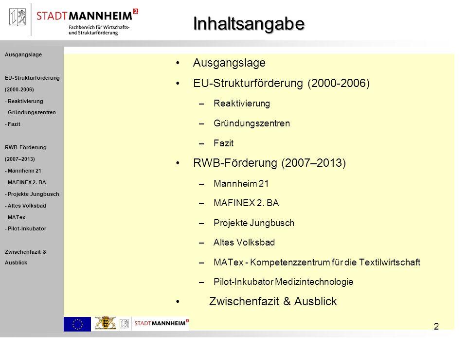 Inhaltsangabe 2 Ausgangslage EU-Strukturförderung (2000-2006) –Reaktivierung –Gründungszentren –Fazit RWB-Förderung (2007–2013) –Mannheim 21 –MAFINEX