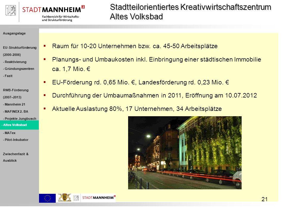 21 Raum für 10-20 Unternehmen bzw. ca. 45-50 Arbeitsplätze Planungs- und Umbaukosten inkl. Einbringung einer städtischen Immobilie ca. 1,7 Mio. EU-För