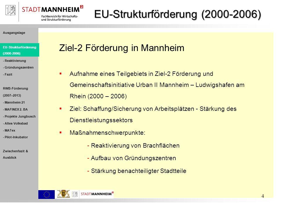 EU-Strukturförderung (2000-2006) Ziel-2 Förderung in Mannheim Aufnahme eines Teilgebiets in Ziel-2 Förderung und Gemeinschaftsinitiative Urban II Mann