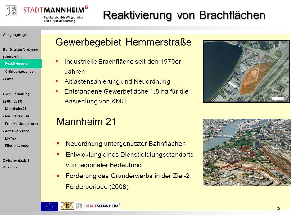 5 Reaktivierung von Brachflächen Gewerbegebiet Hemmerstraße Industrielle Brachfläche seit den 1970er Jahren Altlastensanierung und Neuordnung Entstand