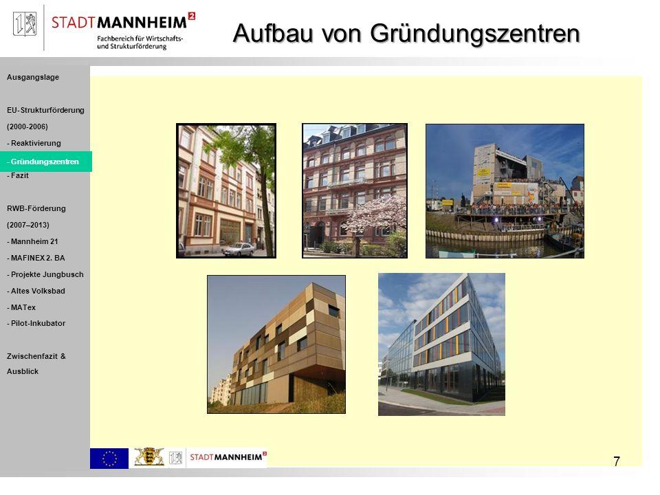 7 Aufbau von Gründungszentren Ausgangslage EU-Strukturförderung (2000-2006) - Reaktivierung - Gründungszentren - Fazit RWB-Förderung (2007–2013) - Man