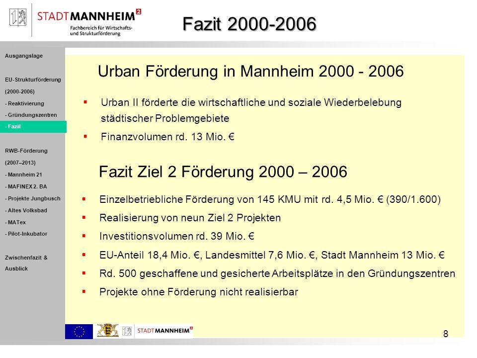 8 Urban Förderung in Mannheim 2000 - 2006 Urban II förderte die wirtschaftliche und soziale Wiederbelebung städtischer Problemgebiete Finanzvolumen rd