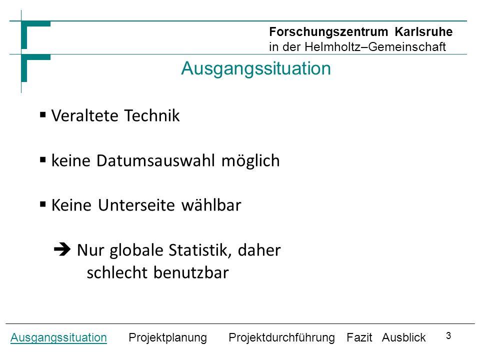 Ausgangssituation Ausgangssituation Projektplanung Projektdurchführung Fazit Ausblick Forschungszentrum Karlsruhe in der Helmholtz–Gemeinschaft 4