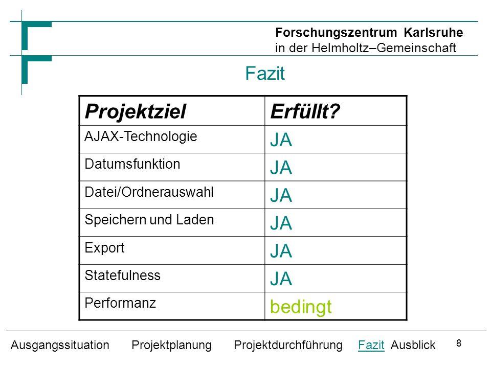 Ausblick Praxistest für große Datenmengen Änderungen an der bestehenden Datenbank Verbesserung der Datumsfunktion Nutzen der Unterfunktionen für andere Module Ausgangssituation Projektplanung Projektdurchführung Fazit Ausblick Forschungszentrum Karlsruhe in der Helmholtz–Gemeinschaft 9