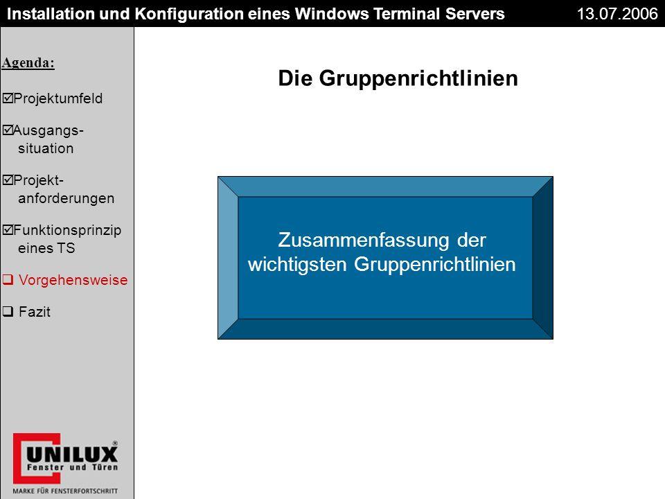 Der Kaufvertrag 26.06.2003 Installation und Konfiguration eines Windows Terminal Servers13.07.2006 Die Gruppenrichtlinien Zusammenfassung der wichtigs