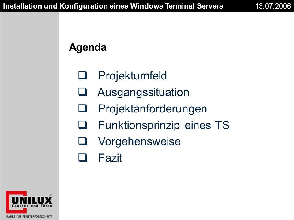Titel Datum Installation und Konfiguration eines Windows Terminal Servers Projektumfeld Ausgangssituation Projektanforderungen Funktionsprinzip eines TS Vorgehensweise Fazit Agenda 13.07.2006