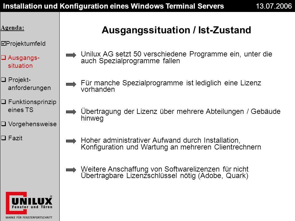 Titel Datum Installation und Konfiguration eines Windows Terminal Servers Ausgangssituation / Ist-Zustand Unilux AG setzt 50 verschiedene Programme ei
