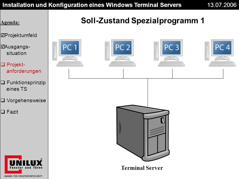 Der Kaufvertrag 26.06.2003 Installation und Konfiguration eines Windows Terminal Servers13.07.2006 Soll-Zustand Spezialprogramm 1 Terminal Server Agen