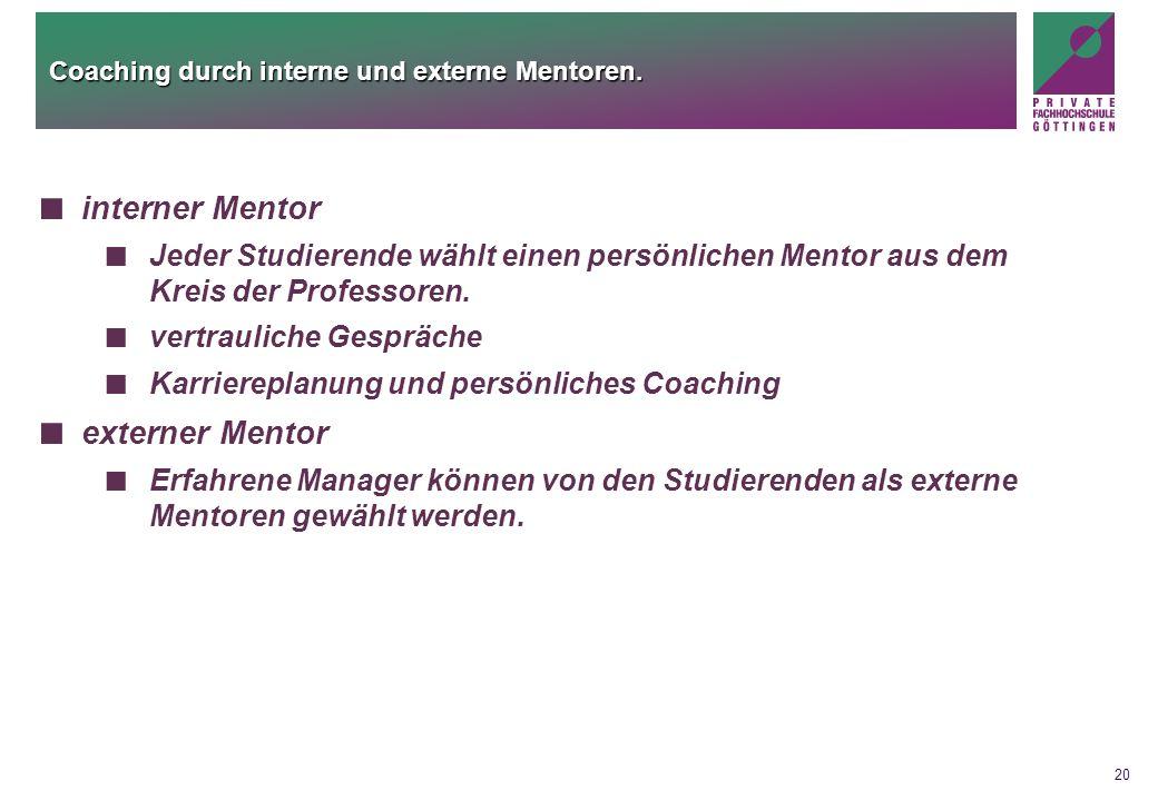 20 Coaching durch interne und externe Mentoren. interner Mentor Jeder Studierende wählt einen persönlichen Mentor aus dem Kreis der Professoren. vertr