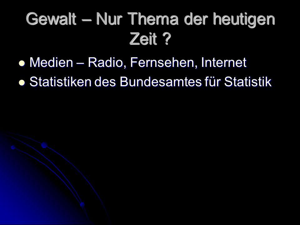 Gewalt – Nur Thema der heutigen Zeit ? Medien – Radio, Fernsehen, Internet Medien – Radio, Fernsehen, Internet Statistiken des Bundesamtes für Statist