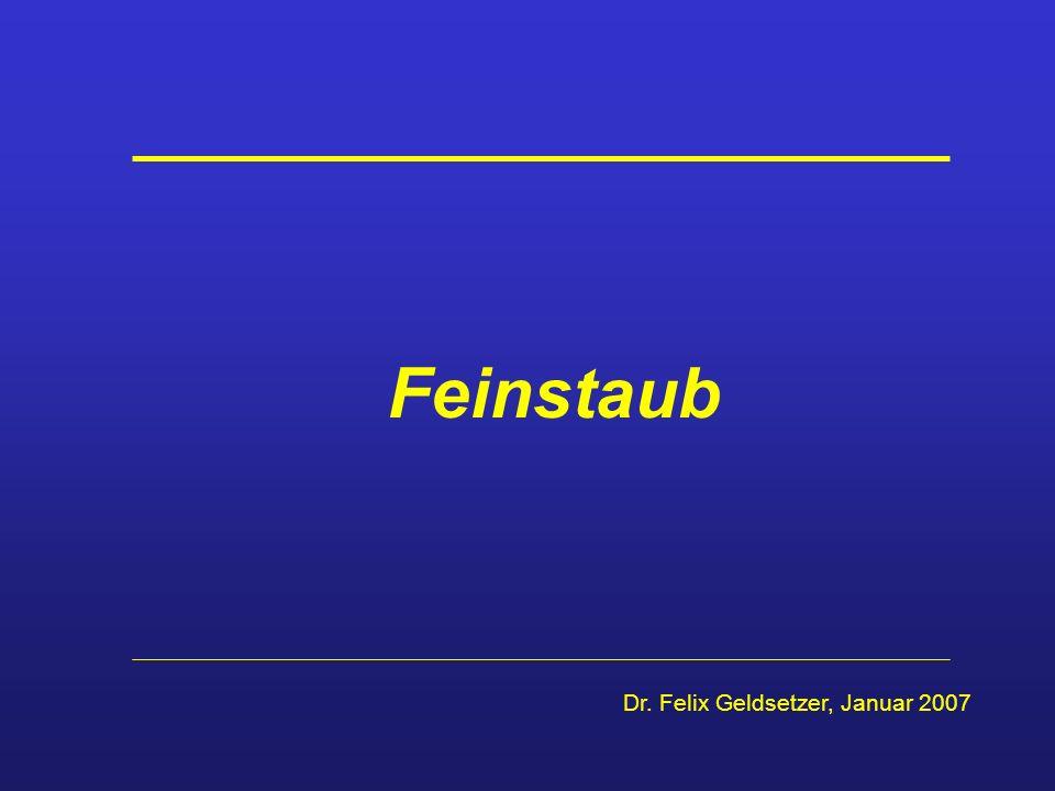 Feinstaub - Die aktuelle Diskussion EU-Richtlinie 1999/30/EG: Ab dem 1.1.2005 Feinstaub-Konzentration > 50 µg/m 3 in der Luft nur an bis zu 35 Tagen/Jahr erlaubt.
