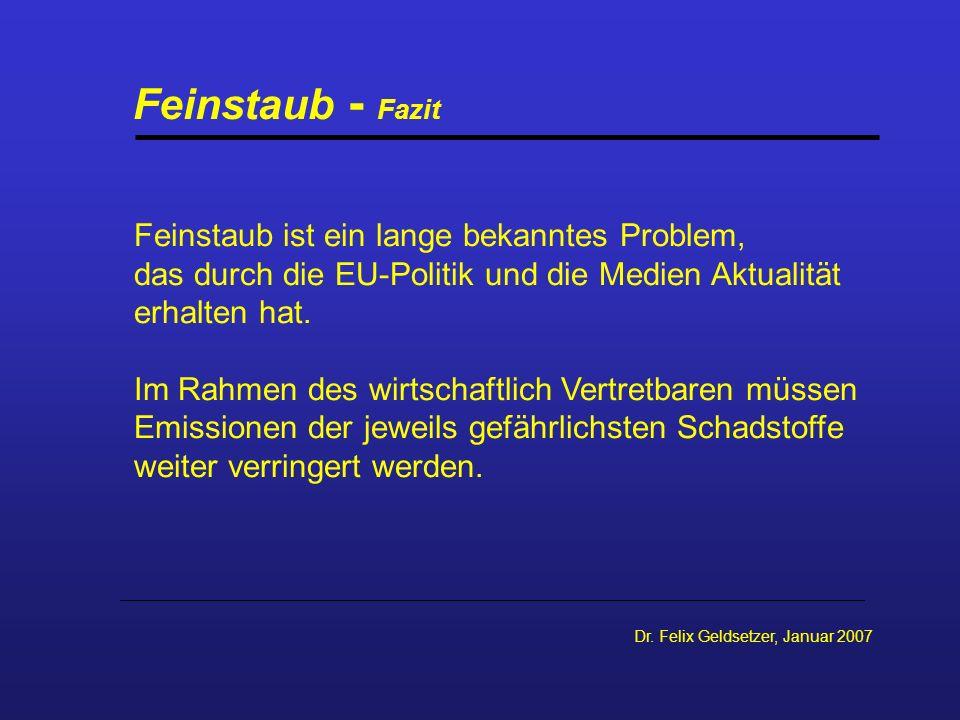 Dr. Felix Geldsetzer, Januar 2007 Feinstaub - Fazit Feinstaub ist ein lange bekanntes Problem, das durch die EU-Politik und die Medien Aktualität erha