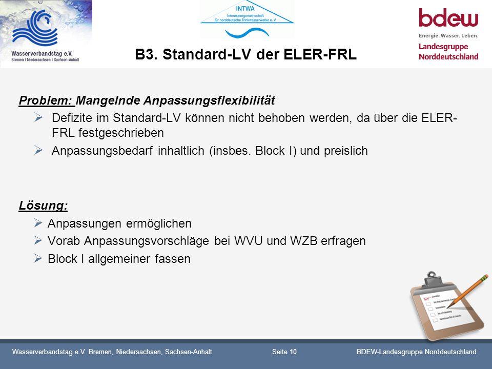 Wasserverbandstag e.V. Bremen, Niedersachsen, Sachsen-AnhaltBDEW-Landesgruppe Norddeutschland B3. Standard-LV der ELER-FRL Problem: Mangelnde Anpassun