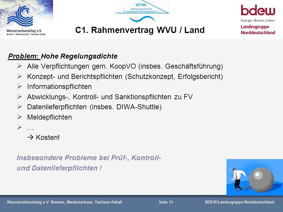 Wasserverbandstag e.V. Bremen, Niedersachsen, Sachsen-AnhaltBDEW-Landesgruppe Norddeutschland C1. Rahmenvertrag WVU / Land Problem: Hohe Regelungsdich