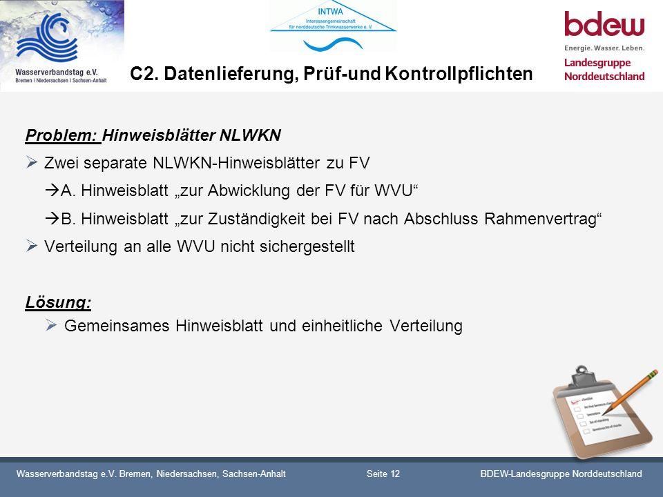 Wasserverbandstag e.V. Bremen, Niedersachsen, Sachsen-AnhaltBDEW-Landesgruppe Norddeutschland C2. Datenlieferung, Prüf-und Kontrollpflichten Problem: