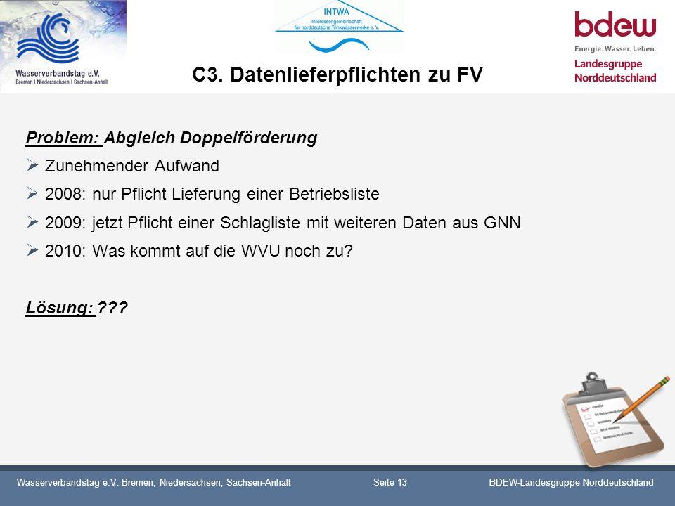 Wasserverbandstag e.V. Bremen, Niedersachsen, Sachsen-AnhaltBDEW-Landesgruppe Norddeutschland C3. Datenlieferpflichten zu FV Problem: Abgleich Doppelf